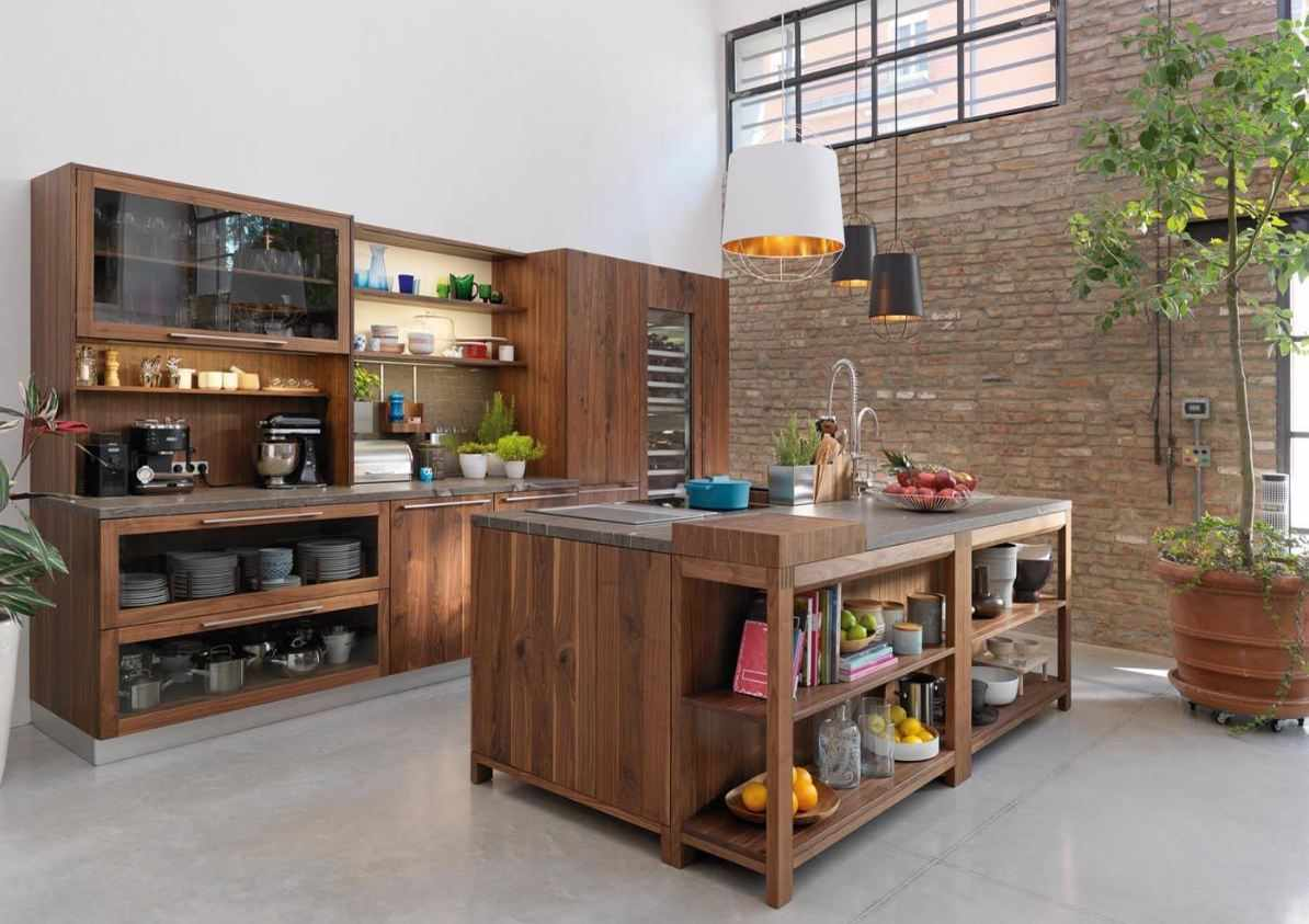 Кухня-остров в кухне в стиле эко