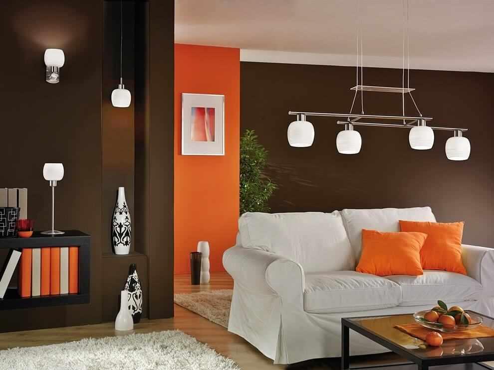 Коричнево-оранжевый интерьер