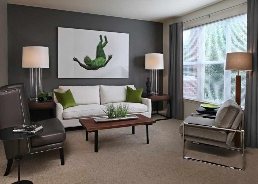 Интерьер в стиле модерн с серыми стенами