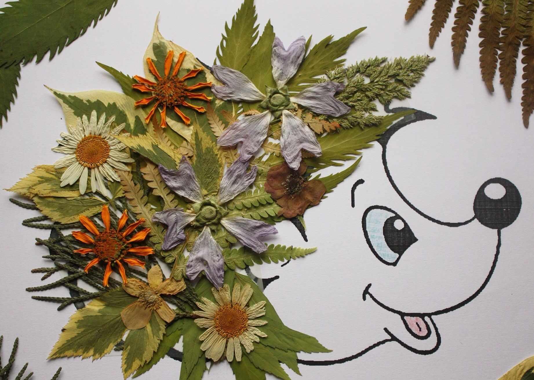 Картина из зеленых листьев
