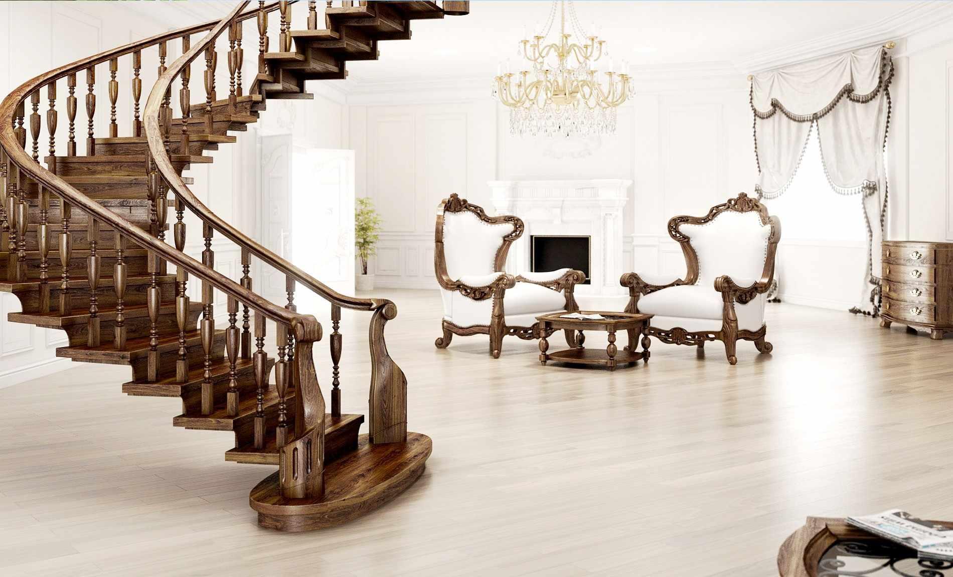 Мебель из дерева в гостиной