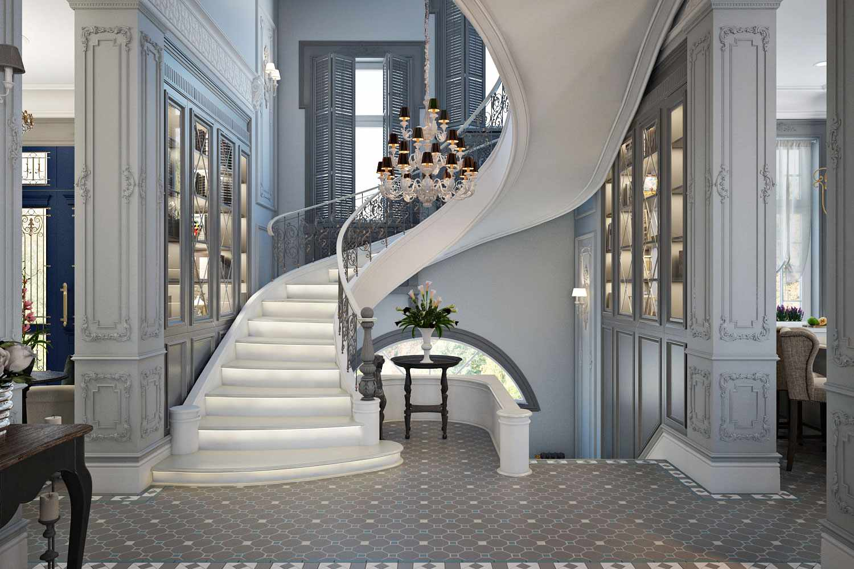 Лестница в интерьере в классическом стиле