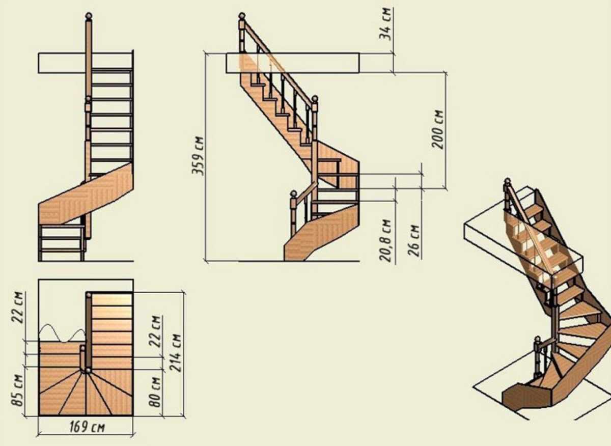 Проект лестницы с перилами