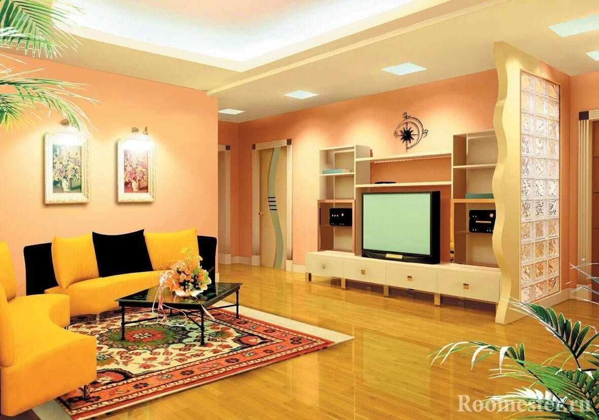 Желто-черный диван в гостиной