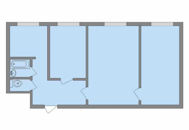 Планировка 3-х комнатной квартиры в сталинке