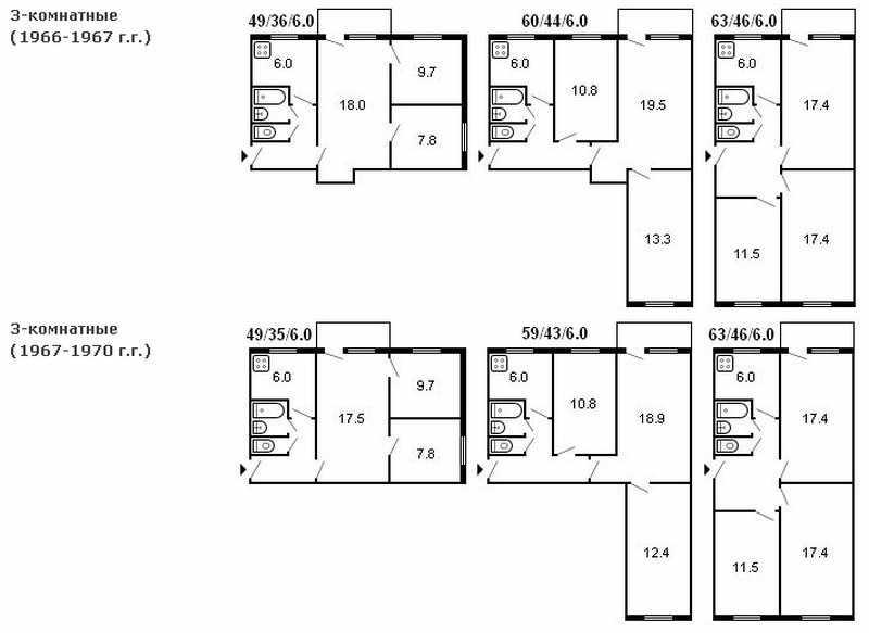 Планировка 3-х комнатной квартиры в брежневке