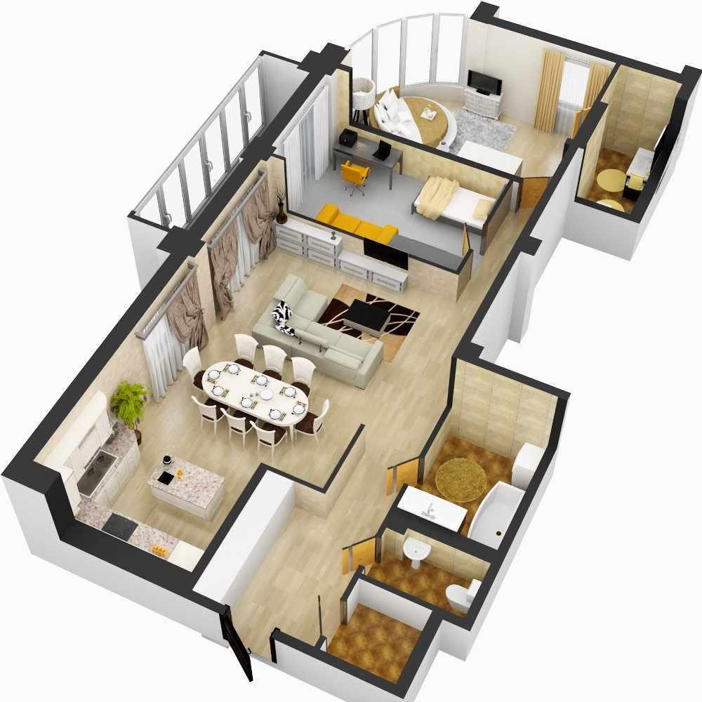 Планировка современной 3-х комнатной квартиры