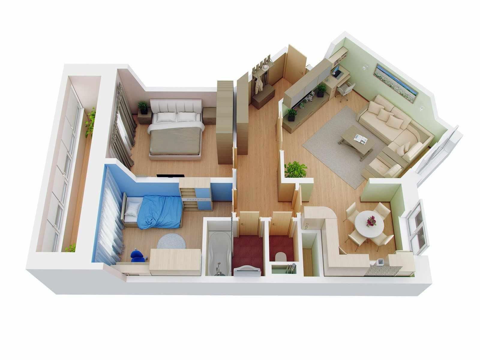 Расположение комнат в 3-х комнатной квартире