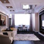 Кофейные стены в гостиной
