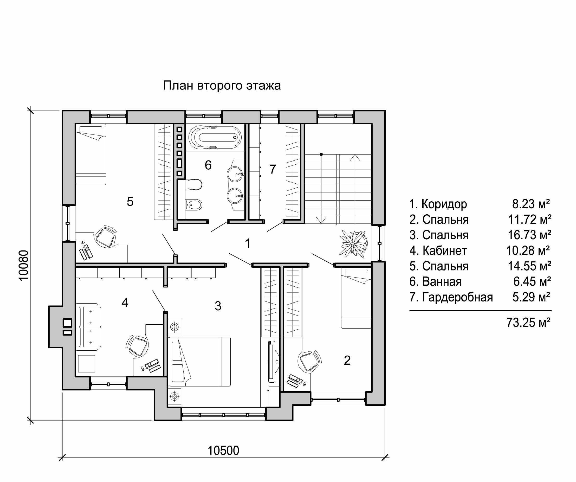 Планировка второго этажа дома 6 на 6