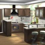 П-образная кухня с барной стойкой