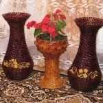 Три вазы из трубочек