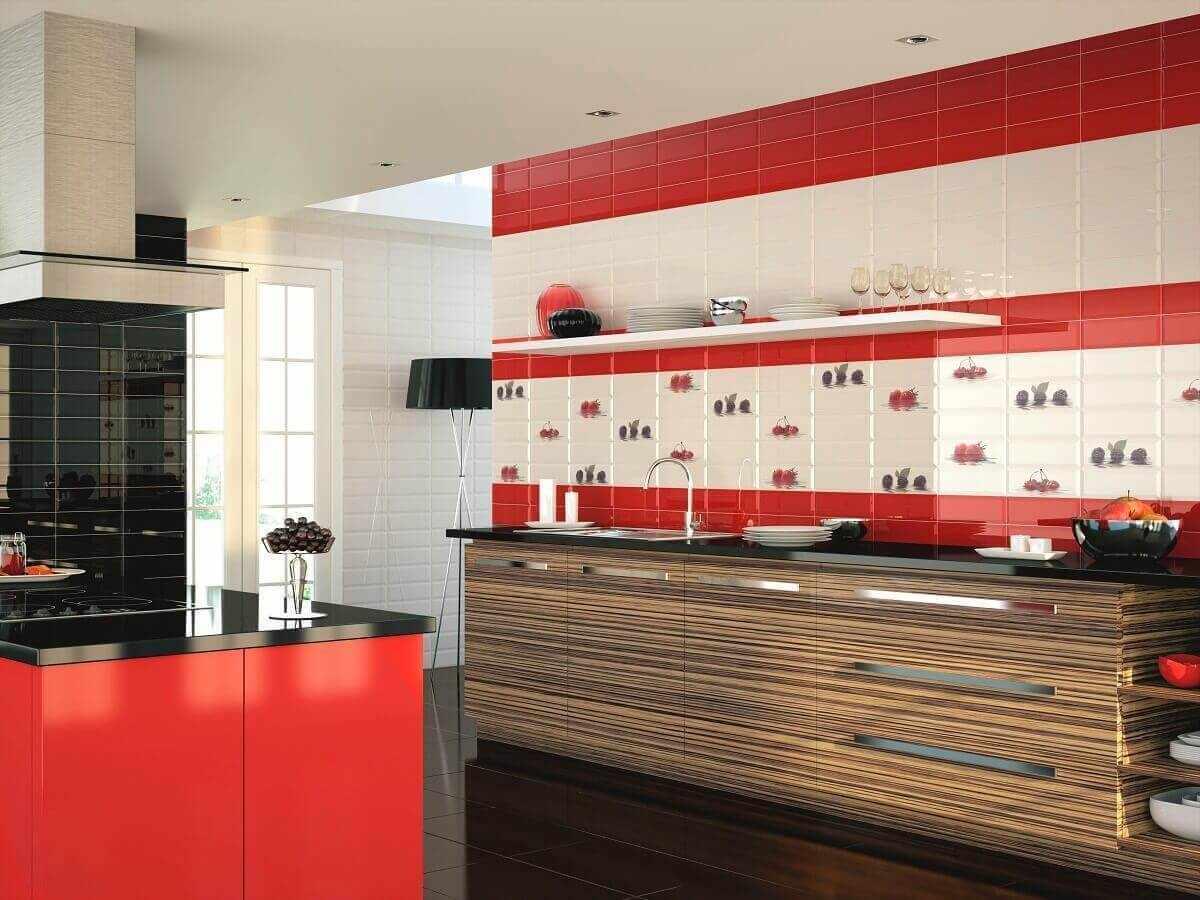Красные элементы в дизайне кухни