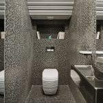 Мозаичная плитка серого цвета в дизайне туалета