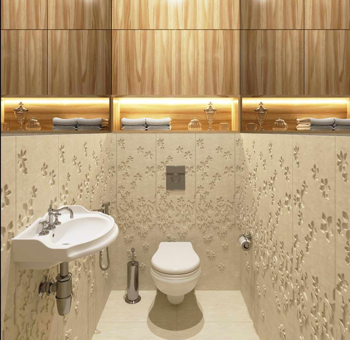 Комбинированный вариант оформления туалета