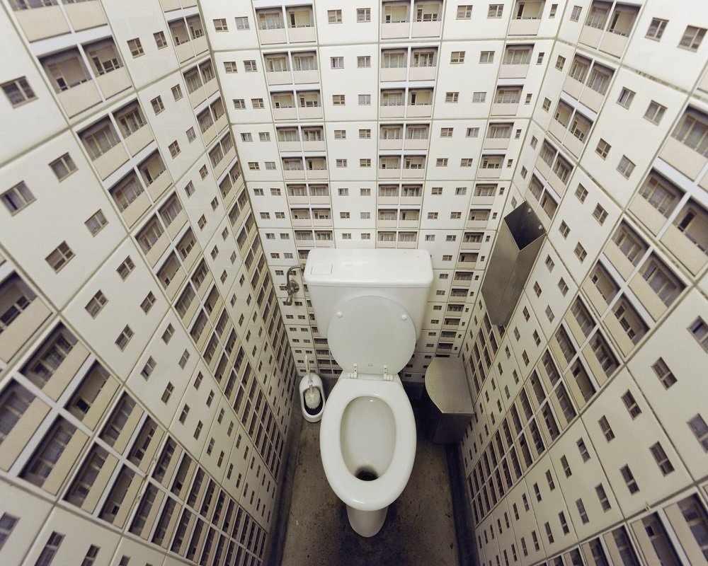 Дизайн туалета в городском стиле