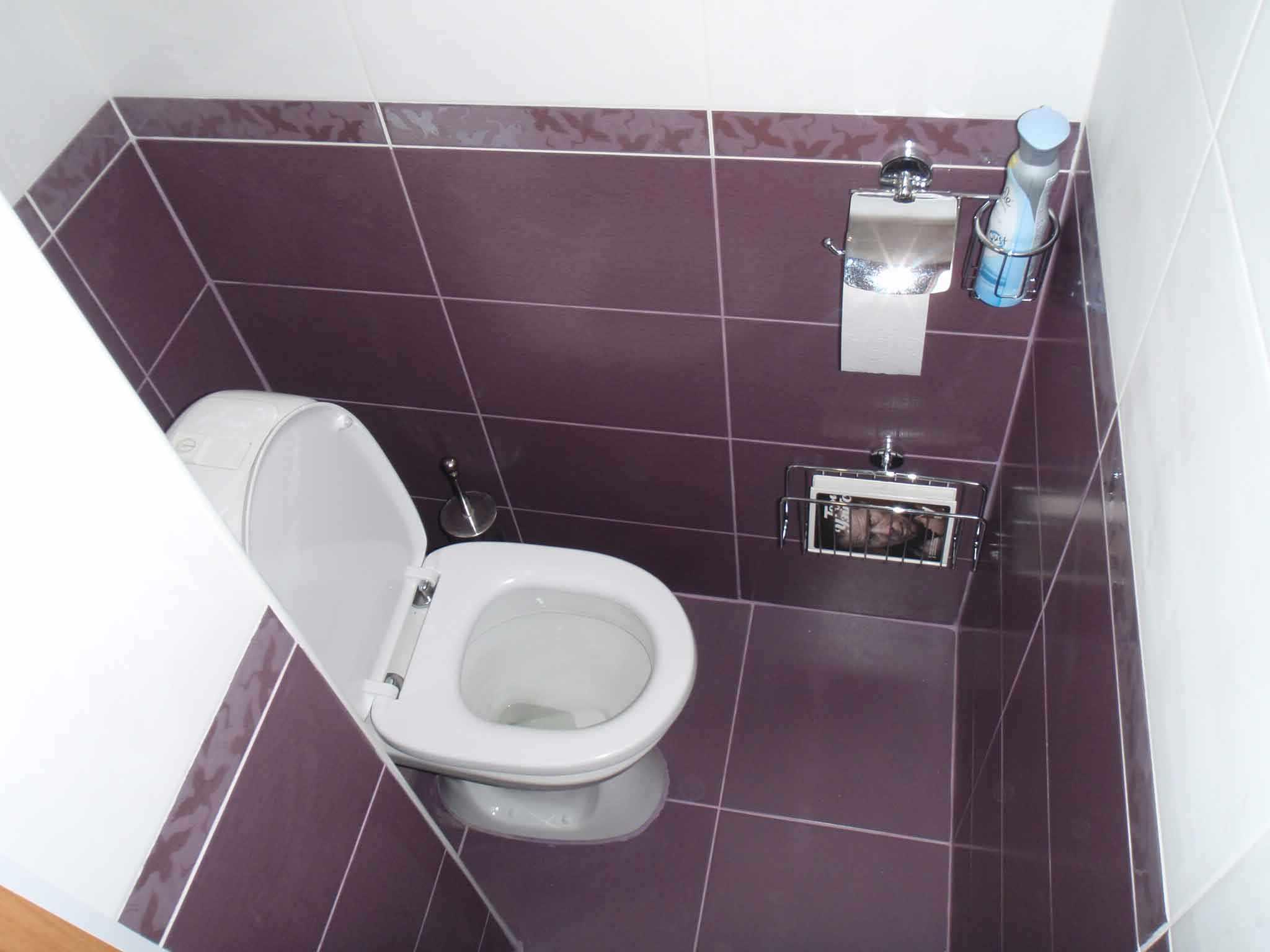 Фиолетовый и белый в отделке туалета