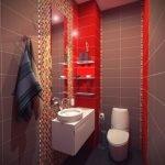 Оттенки красного в интерьере туалета