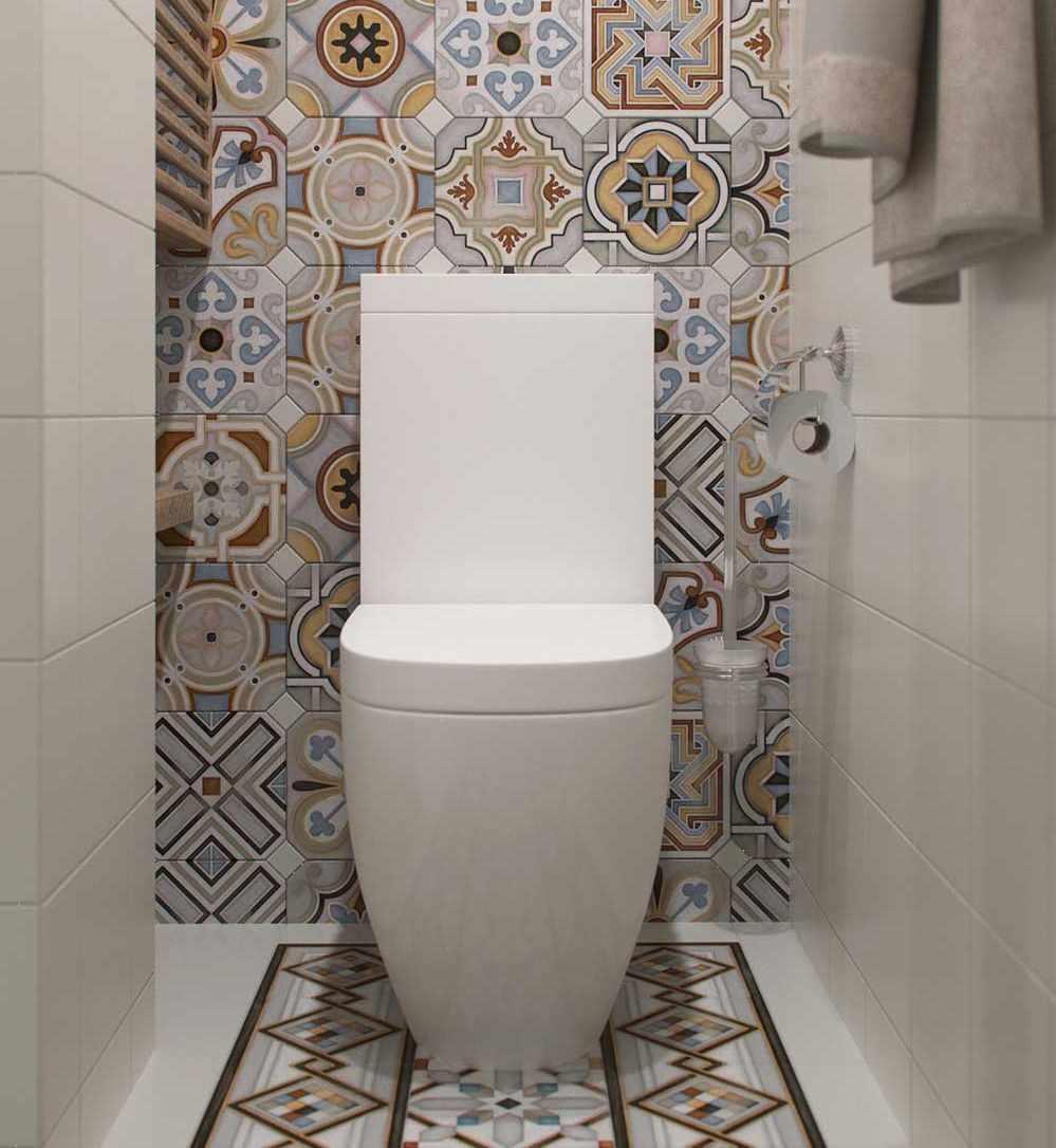 Плитка с орнаментом в туалете