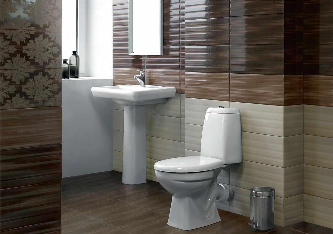 Коричневые оттенки в дизайне туалета с раковиной