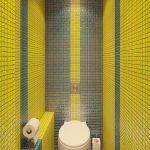 Желтая мозаика в дизайне туалета
