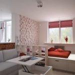 Перегородки между кухней, гостиной и спальней