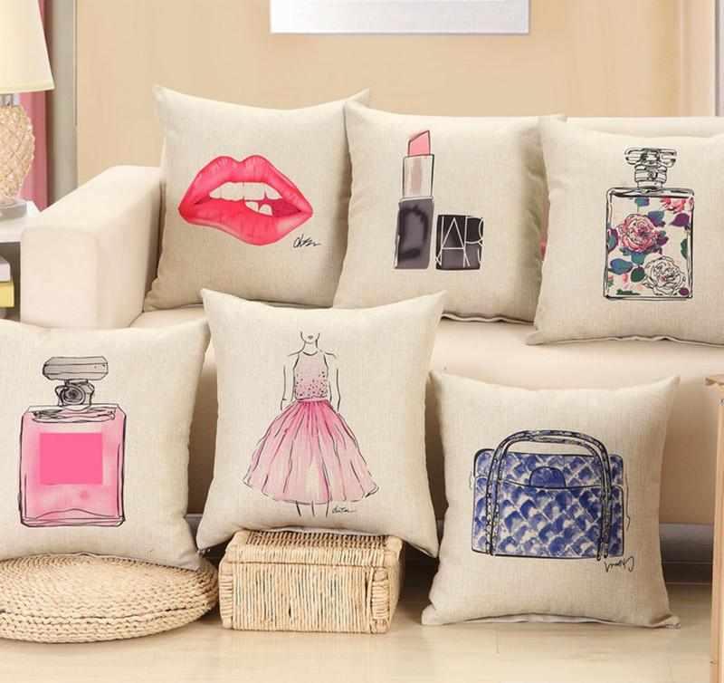 Льняные подушки с рисунком