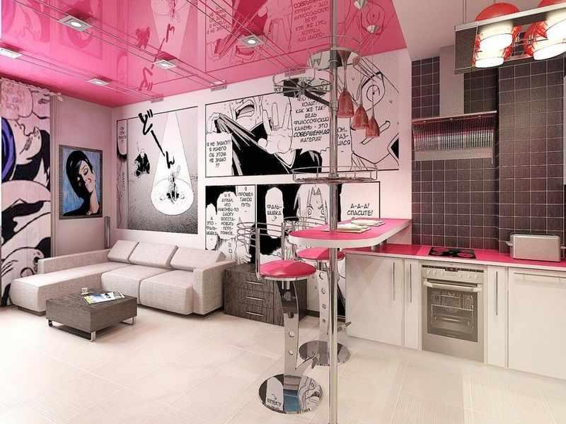 Розовый потолок в интерьере в стиле поп-арт