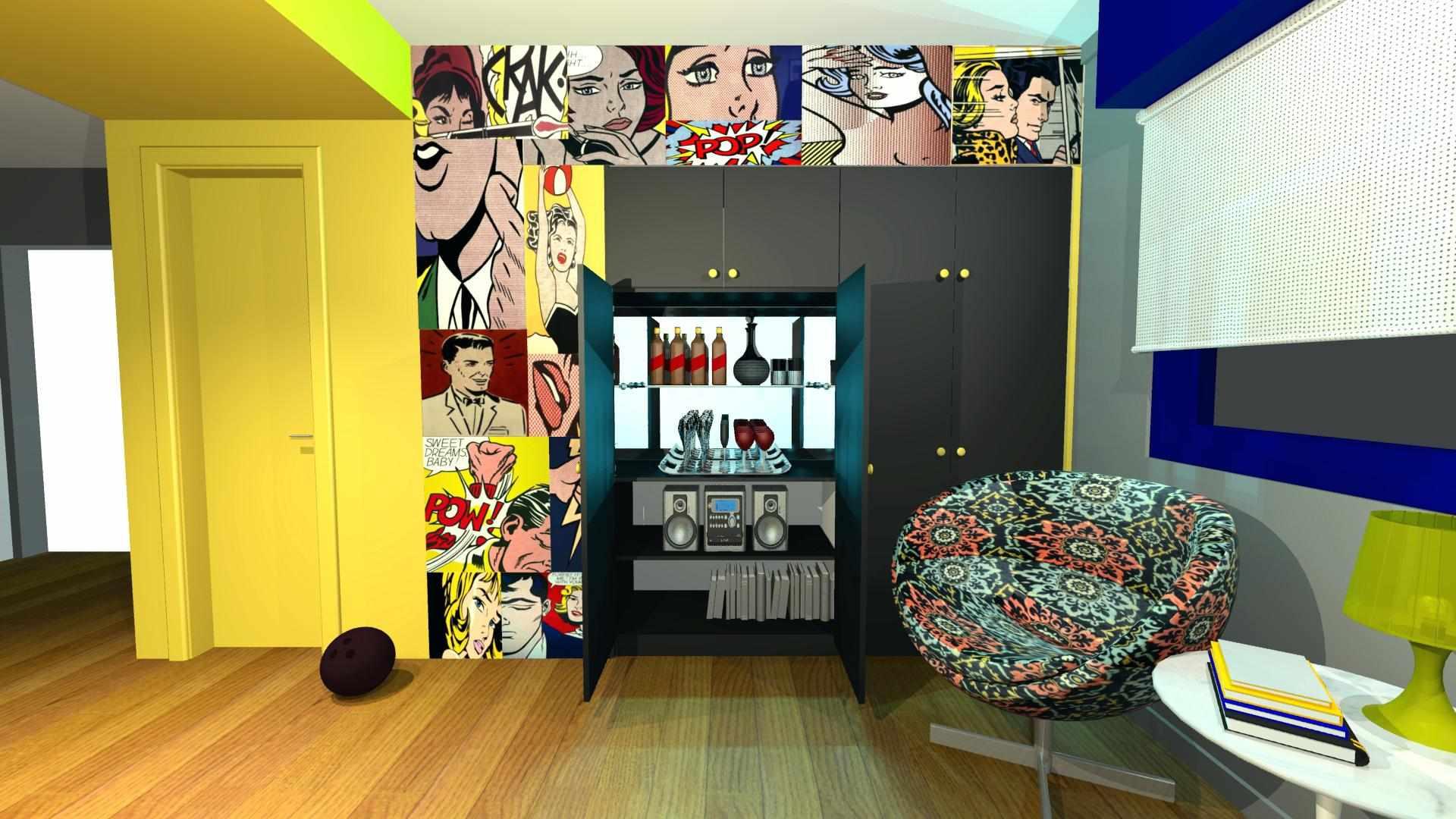 Интерьер в стиле поп-арт в ярких цветах