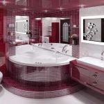 Интерьер бордовой ванной