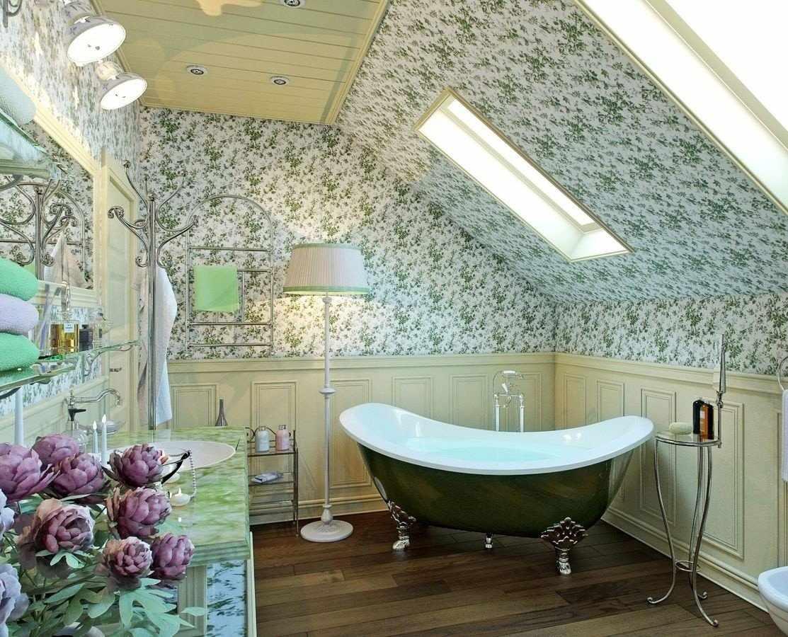 Обои на потолок в ванную