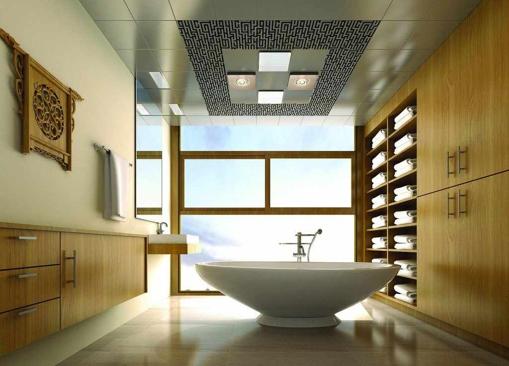 Отделка плиткой потолка в ванной