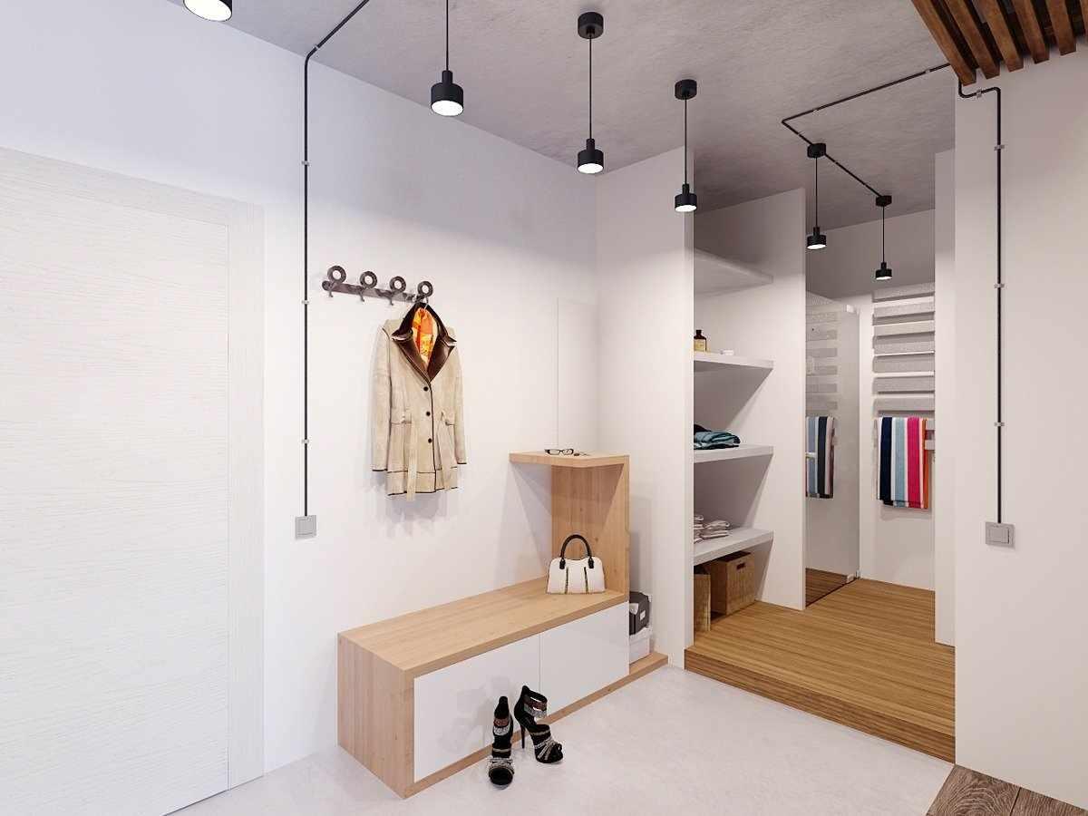 Светлый потолок в прихожей в стиле лофт