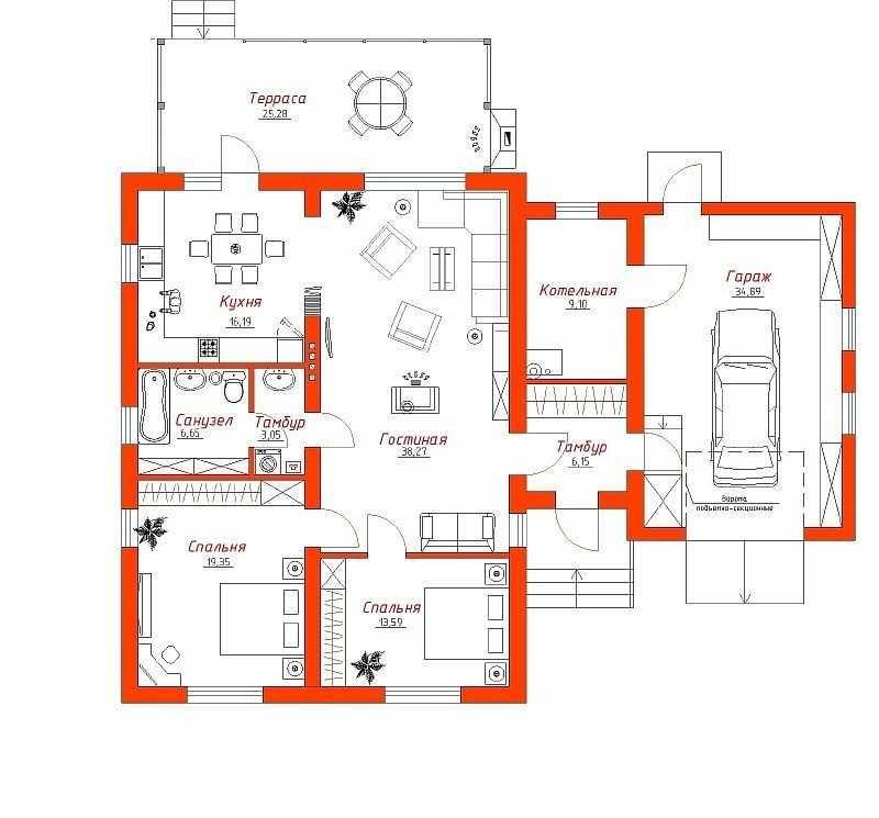 Проект дома 6 на 8 с гаражом