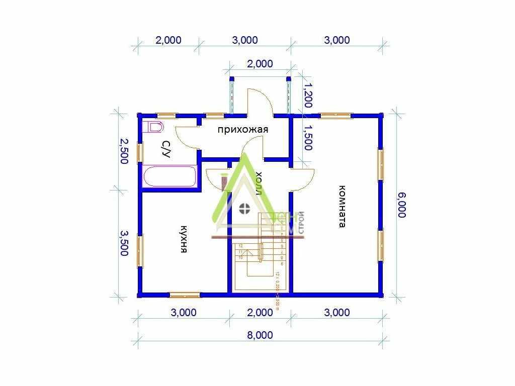 Расположение комнат в доме 6 на 8