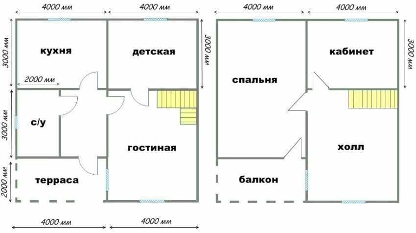 Проект двухэтажного дома 8 на 8