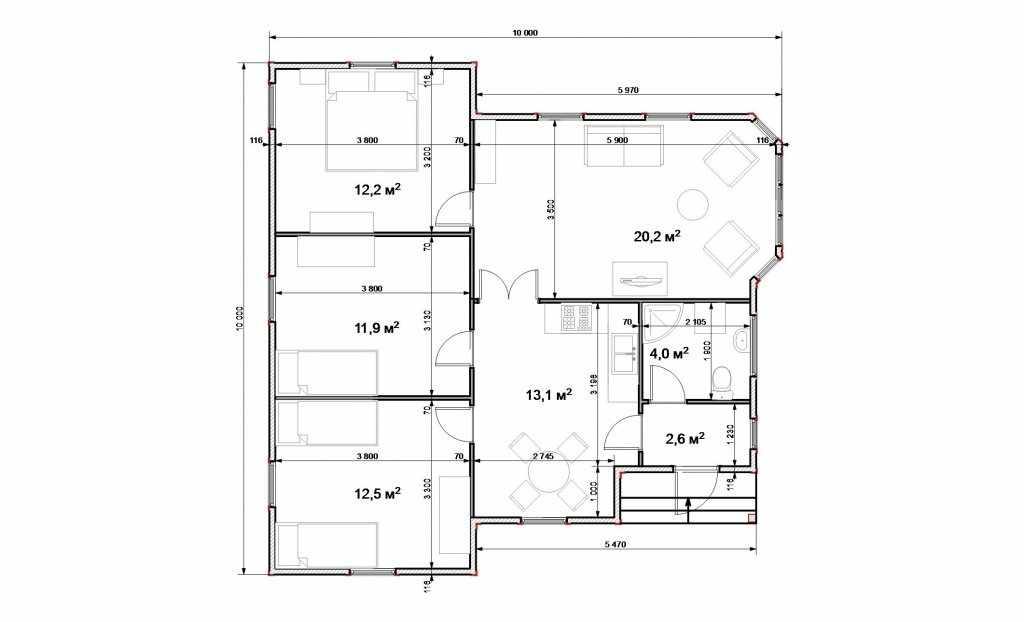 Проект дома среднего размера