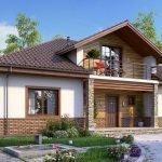 Одноэтажный дом с балконом