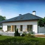 Одноэтажный дом с четырехскатной крышей