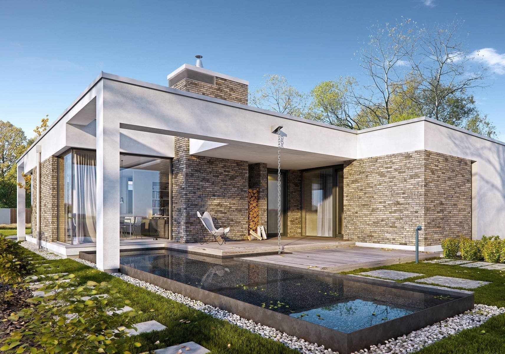 Дом с плоской крышей и террасой