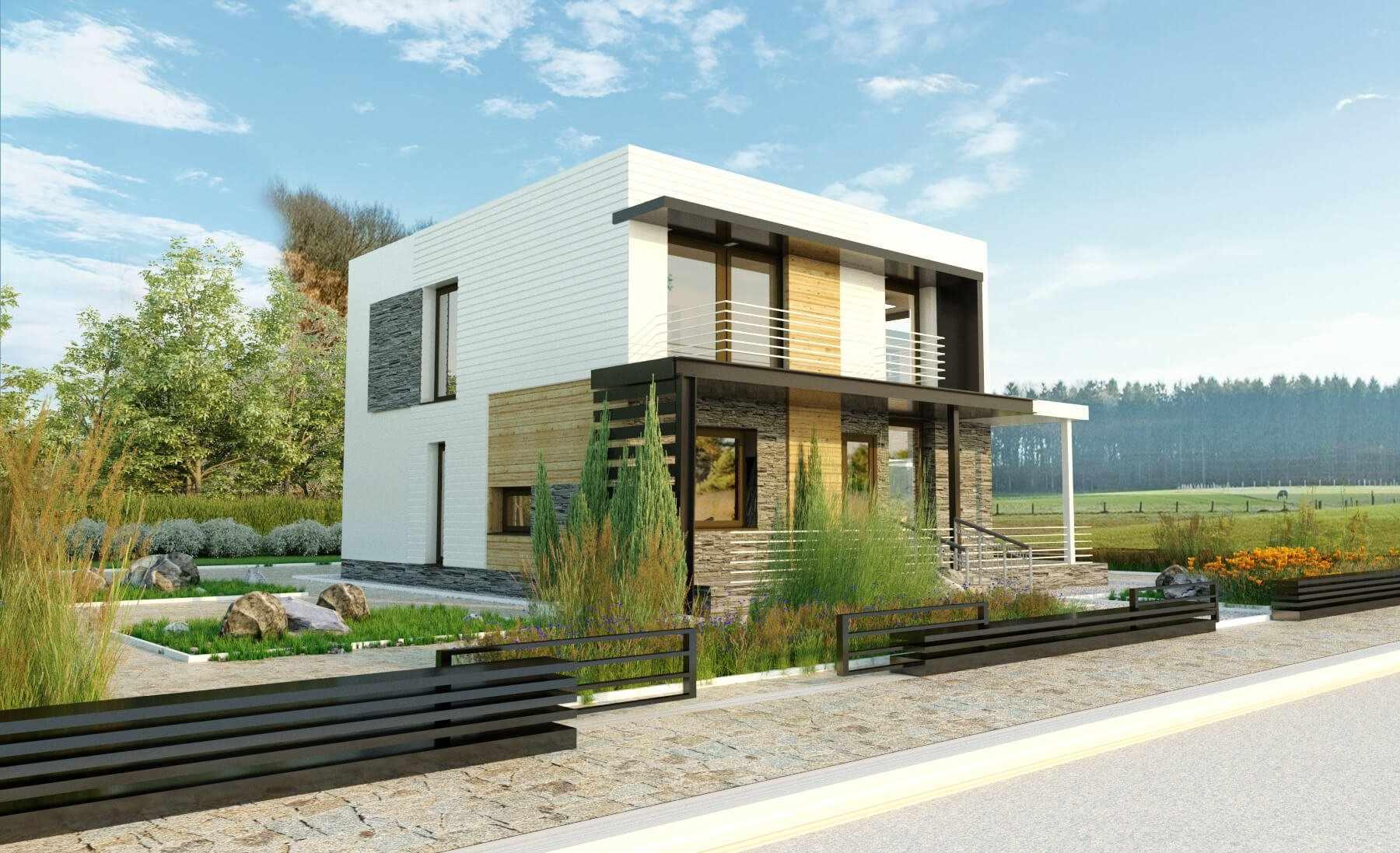 Загородный дом с плоской крышей