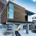 Фасад дома с плоской крышей