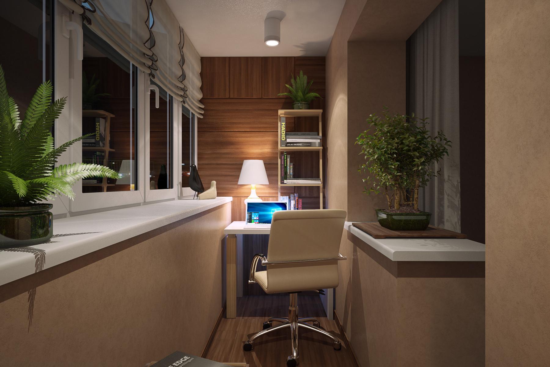 Стильный кабинет на балконе