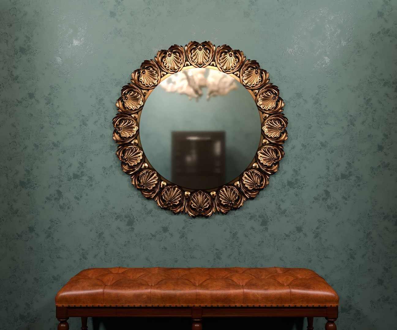 Золотая рама для зеркала в интерьере
