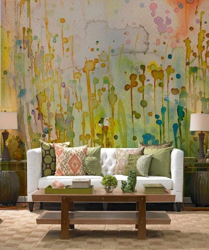 Рисунки краской в интерьере