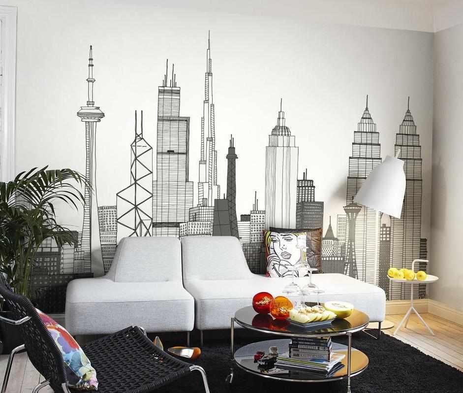 Городские высотки в интерьере гостиной