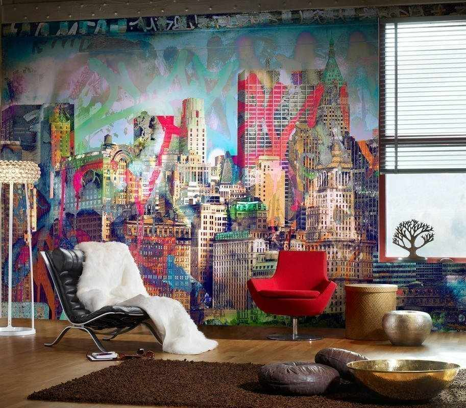 Яркая роспись стен в интерьере