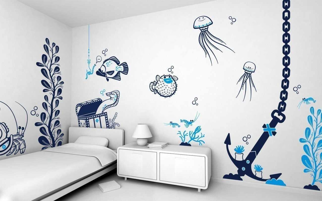 Трафареты на стенах в интерьере