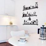 Полки с посудой на стене