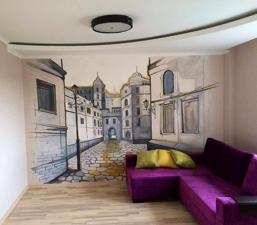 Рисунок на стене в комнате